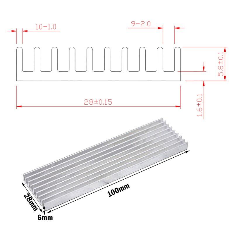 Купить с кэшбэком 5pcs Gdstime Aluminum Heat Sink Radiator Heatsink Cooling Fin 100x28x6mm Silver Tone