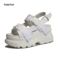SWYIVY Women's Sandals Rome Shoes Platform Leather Woman Beach Casual Shoes 2018 Buckle Lady Sandals Thick Bottom 34