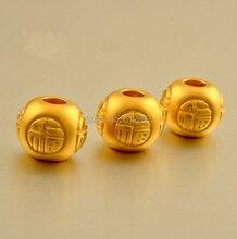 999  24K Yellow Gold Pendant / 3D Men&Women Bless Loose Bead Pendant / 1.05g