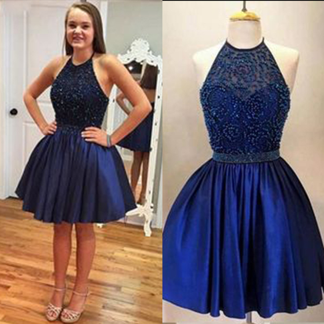a95e289a15 Navy Blue Halter Backless Beaded Short Prom Dress Sexy Short Prom Dress For Girls  Formal Prom Party Dress Homecoming Dress SPD40