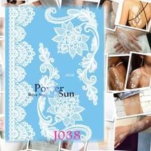 1PC Sexy Lotus Flower Design White Henna Tattoo Body Art Temporary Tattoo Sticker Waterproof Arm Shoulder Tatoo Women Bracelet