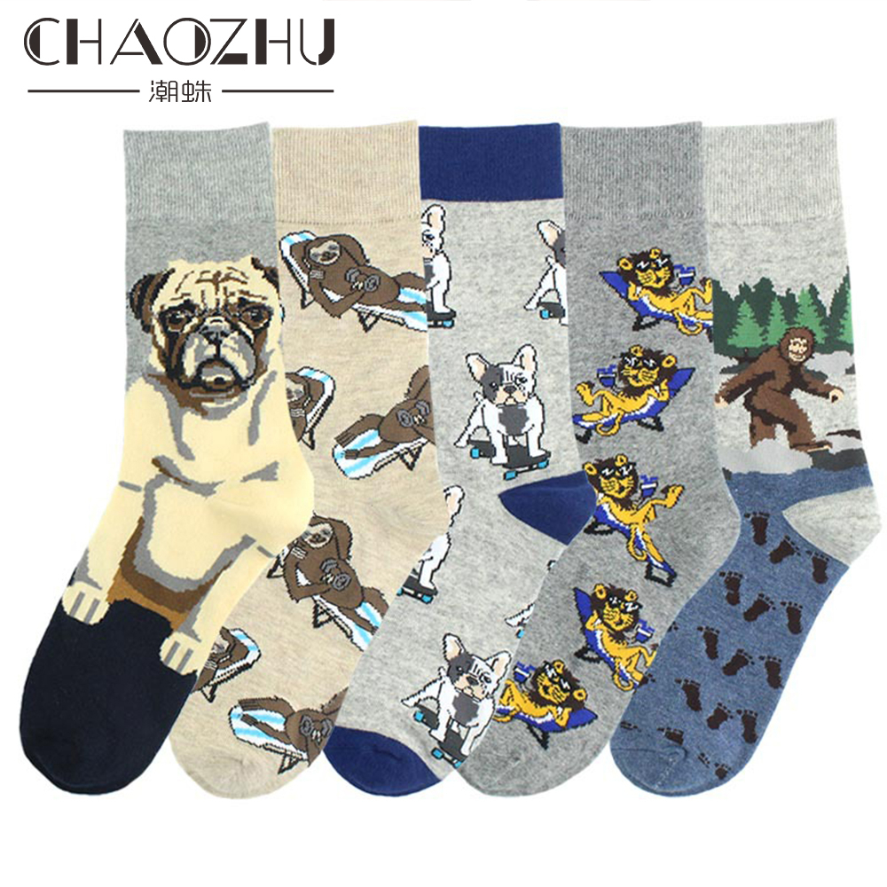 CHAOZHU Autumn Winter Men Socks Cartoon Dog Skateboard French Bulldog Shar Pei Casual Funny Long Crew Hip Hop Calcetines Male