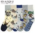 Носки CHAOZHU мужские с рисунком собаки, скейтборда, французского бульдога, шара-пея, повседневные забавные длинные носки в стиле хип-хоп для ос...