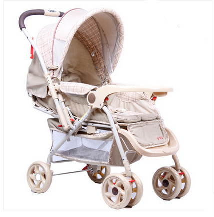 Widening stroller can lie can sit folding Suspension portable two-way baby stroller baby car