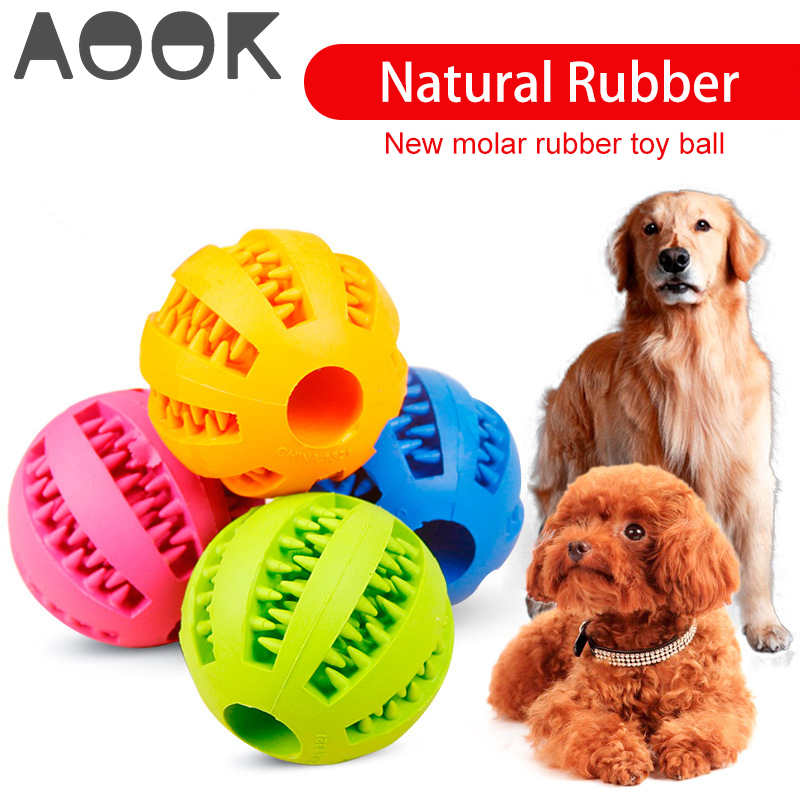 AOOK Pet Dog Toy Interactive Rubber Balls Pet Dog Cat Puppy Chew Toys Ball Teeth Chew Toys Tooth Cleaning Balls Food