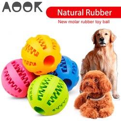 Aook brinquedo do cão de estimação interativo bolas de borracha pet cão gato filhote de cachorro mastigar brinquedos bola dentes mastigar brinquedos de limpeza do dente bolas alimentos