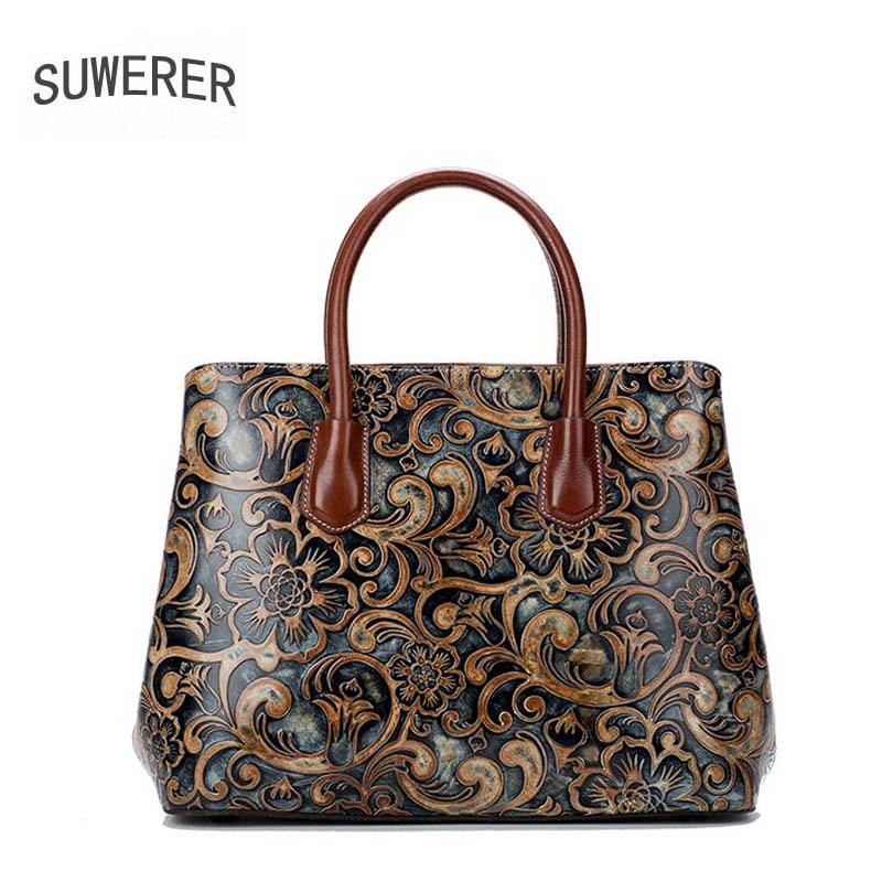 f622b180246a SUWERER 2019 Новая женская кожаная сумка через плечо высокого класса  Этническая тисненая Сумка дизайнерская сумка Бостон