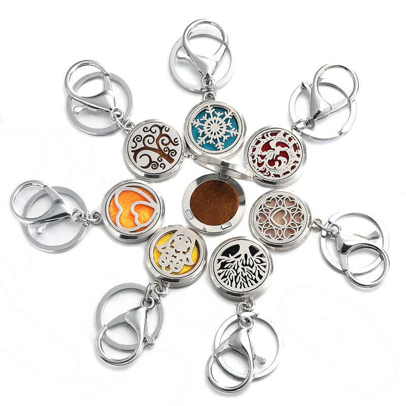 Redondo 28mm moda perfume chaveiro jóias aço inoxidável difusor do óleo essencial perfume aromaterapia medalhão chaveiro jóias