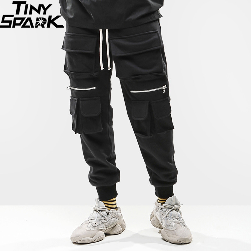 2019 Men Hip Hip Cargo Pants Multi Pockets SweatPant Streetwear Harajuku Pant Joggers Track Trousers Black Hipster Street Wear