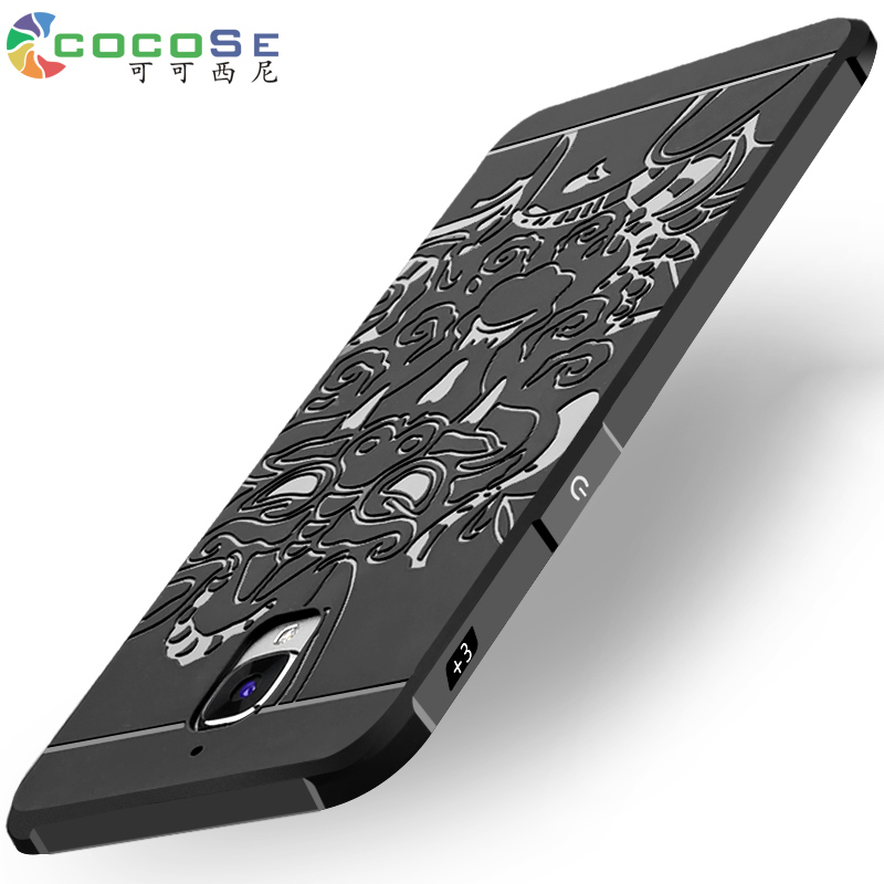 COCOSE case for OnePlus 3 3T silicone back cover 3d carved soft tpu anti-knock phone coque for Oneplus3 One Plus 3 3T 5.5 black