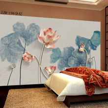 3d new Chinese wallpaper living room TV background wall paper 8d lotus ink simple classical antique bedroom mural high quality free shipping lotus ink shrimp chinese ink ground painting wallpaper kitchen park mall decoration thicken floor mural
