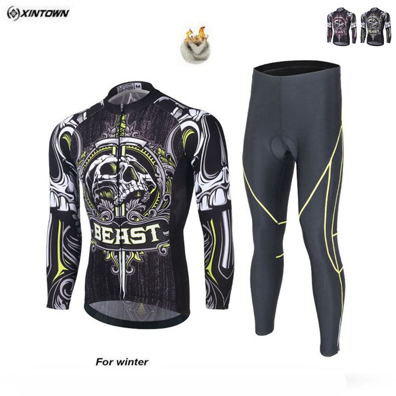 XINTOWN Winter Thermal Fleece Mens Sportswear Long Sleeve Cycling Jersey Bicycle Bike Ropa Ciclismo Cycle Clothing Pants Sets black thermal fleece cycling clothing winter fleece long adequate quality cycling jersey bicycle clothing cc5081