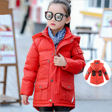 Children Girls Winter Cotton Coat Outerwear Wadded Jackets Fashion Hooded Patchwork Pockets Clothing Overcoat 2016 New