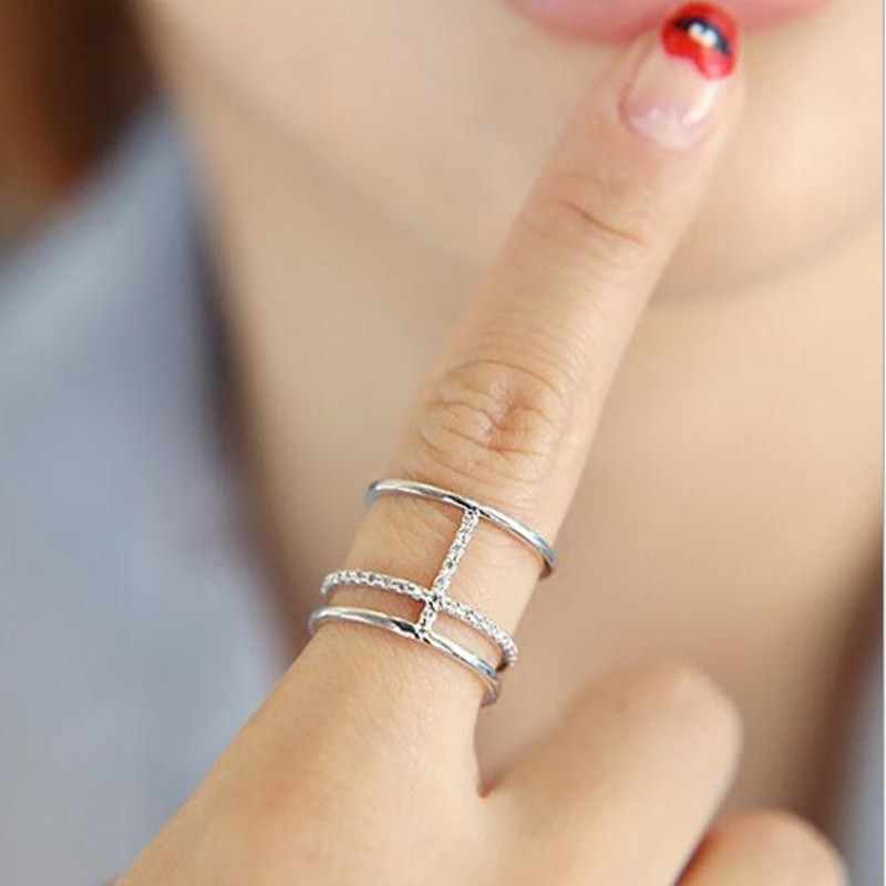 Fashion Temperament Micro inlaid High quality 925 Sterling Silver Jewelry Multi layer Cross Opening Personality Ring