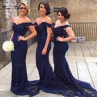 Hot Sale Off the shoulder Sheath Long Bridesmaid Dresses with Appliques See Through Lace Wedding Guest Gown