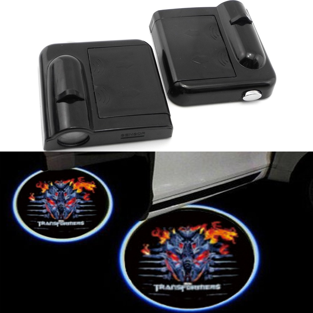2PCS Wireless Car Projection Light LED Door Welcome Ghost Shadow Light Logo No Drilling Required 2 x wireless led car door logo projector welcome ghost shadow light for suzuki swift sx4 s cross jimmy alto celerio grand vitara