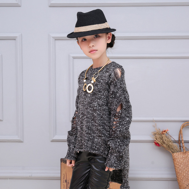 Asymmetric holes hollow out knitted sweater for girls o-neck fall knitting children sweater girl pullovers knit long sleeve tops