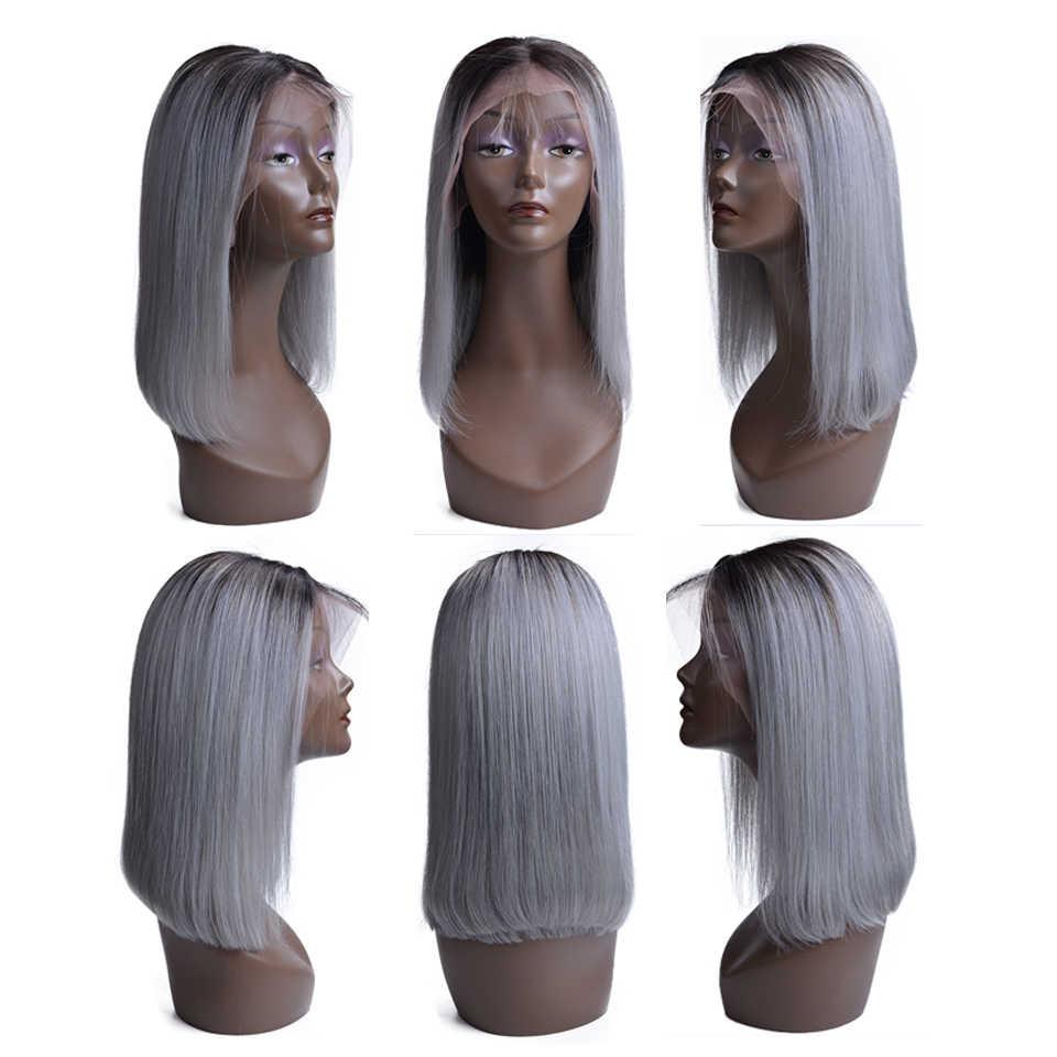 Короткие Синтетические волосы на кружеве человеческих волос Парики бразильского прямо боб парик предварительно выщипанные волосы с ребенком волос парики для Для женщин T1B/серый цвет