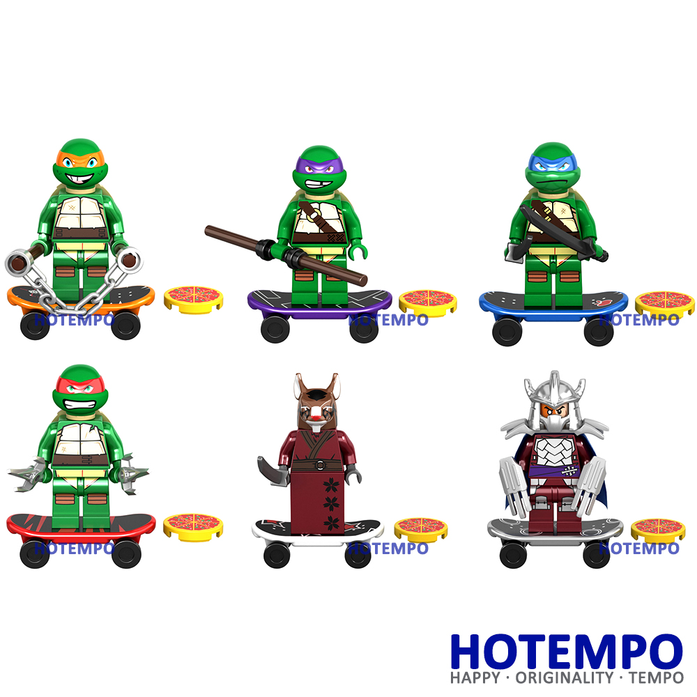 HOTEMPO KSZ723 6Pcs/Set Leonardo Raphael Michelangelo Donatello Mini Model Building Ninja Block Toys 10200-10205