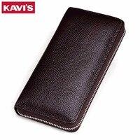 KAVIS New Men Genuine Leather Long Purse Wallet Male Wallets With Multi Card Holders Zipper