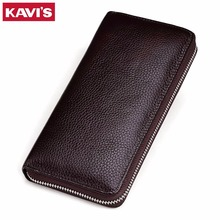 KAVIS New Men Genuine Leather Long Purse Wallet Male Wallets with Multi Card Holders Zipper Designer Men's Clutch Wallets
