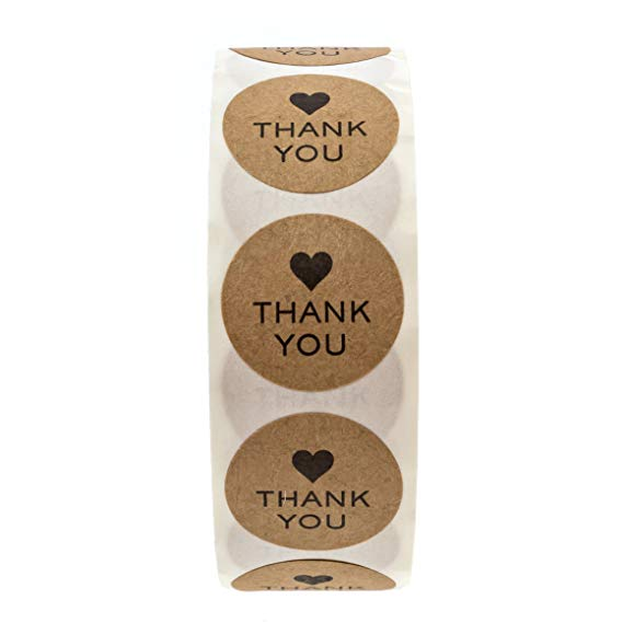 Купить с кэшбэком 1 inch Round Natural Kraft thank you Stickers 500 Labels per roll cute stickers for Cake Packaging seal labels handmade sticker