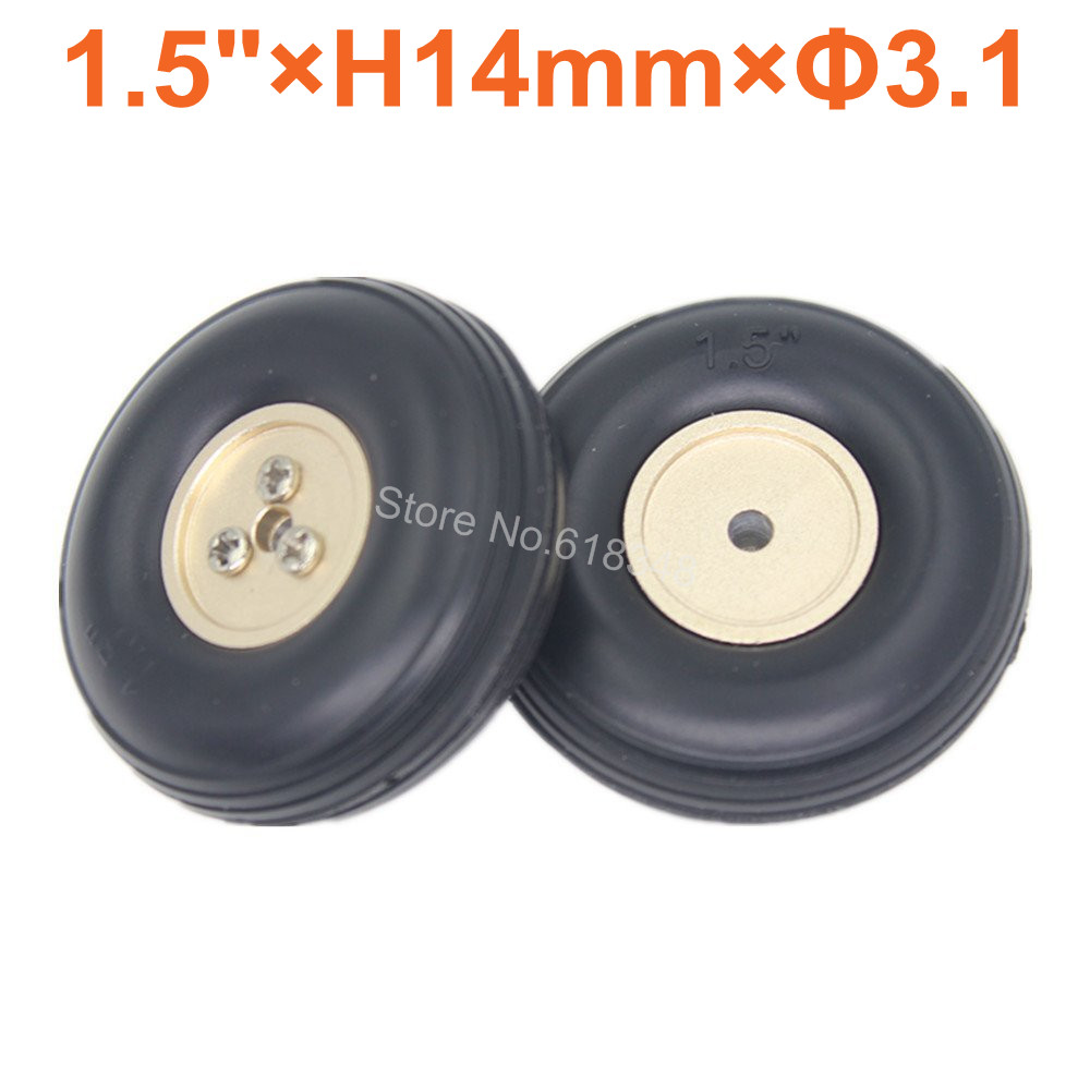 2pcs 1.5/ 38mm Small Rubber Wheels Tires Aluminum Hub Core Thickness:14mm Axle hole: 3.1mm For RC Airplane Replacement Parts