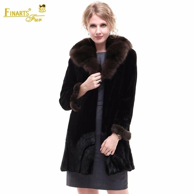New Superior Real Mink Velvet Coats Women Natural Color Fashion Collar Genuine Fur Coats Sable Winter Warm Mink Fur Clothes