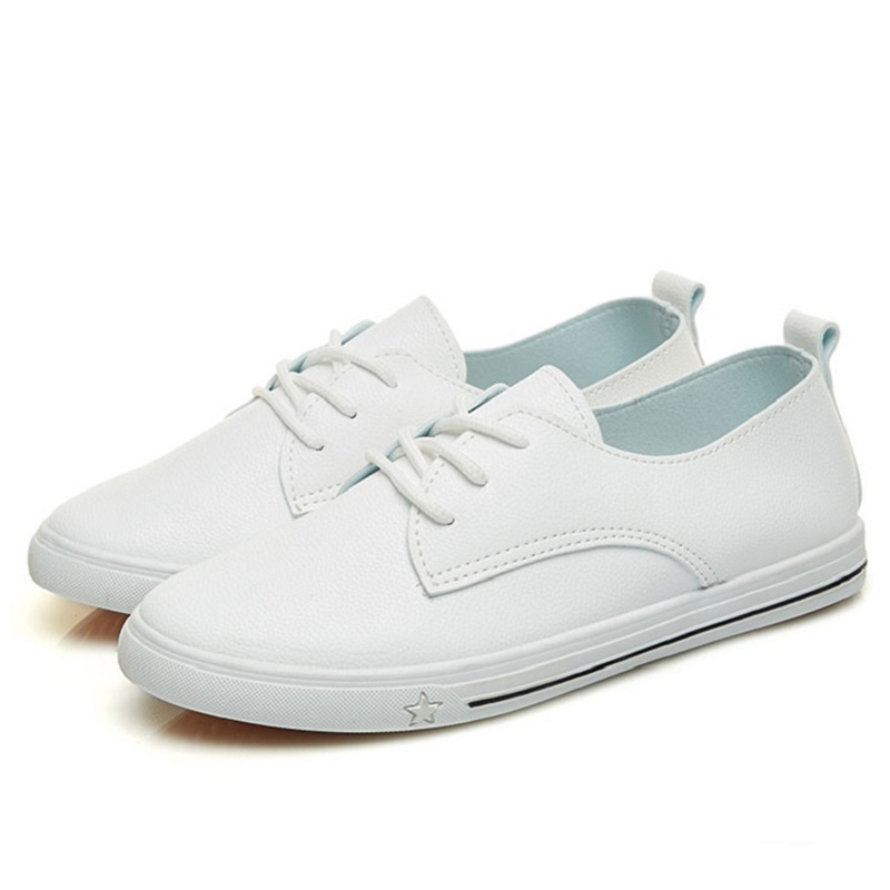 Spring Summer 2018  New Leather Women Shoe Casual Leather Shoes For Women Flat Shoes White Ladies Lacing Loafers Zapatos Mujer sweet women high quality bowtie pointed toe flock flat shoes women casual summer ladies slip on casual zapatos mujer bt123
