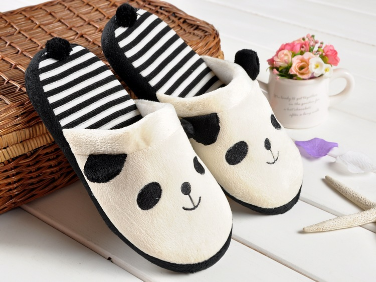New Panda Pattern Autumn Winter Warm Plush Fluffy Anti-slip Women Slippers Cute Coral Soft Home Slippers Indoor Shoes Pantuflas iwhd loft industrial vintage ceiling lights black retro iron led ceiling lamps for kitchen lamparas de techo home lighting