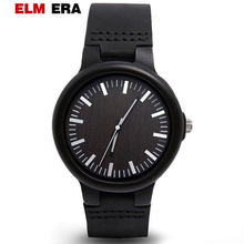 ELMERA Woodn watch mens Leather Watch for Men Teens G Shock Watches Carnival Wooden Watches Famous Men's 2018(China)