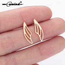Cxwind Fashion Charm Feather Stud Earrings for Women femme Jewelry Angle Wing Earrings boho Wedding Party Brincos Gifts(China)