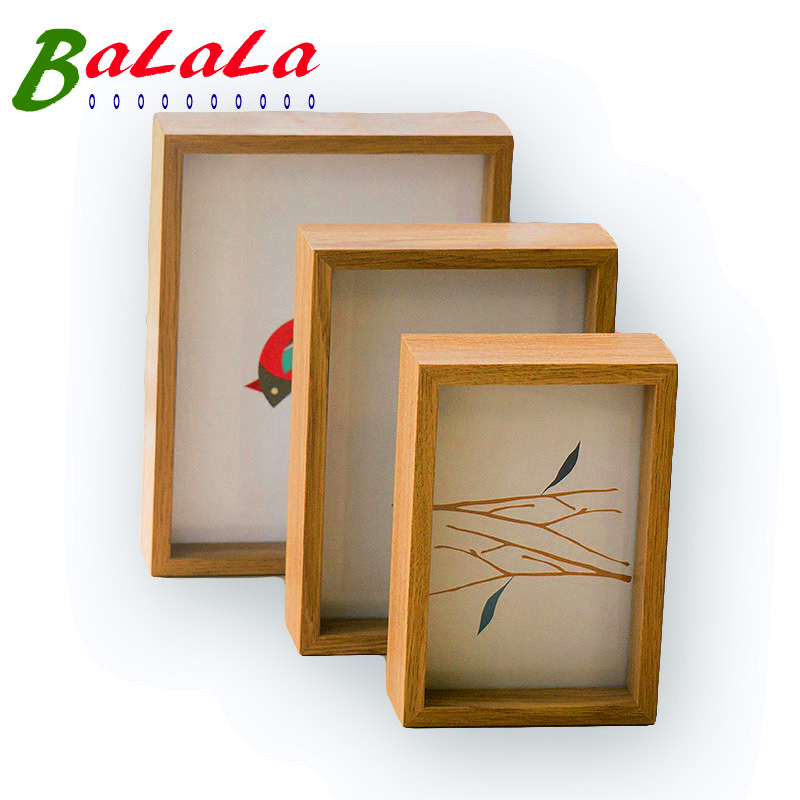 aliexpresscom buy 6 x 8inch double sided frame handmade wooden diy picture frame wall or table photo posters paintings frames for home dicorations from - Double Sided Frame