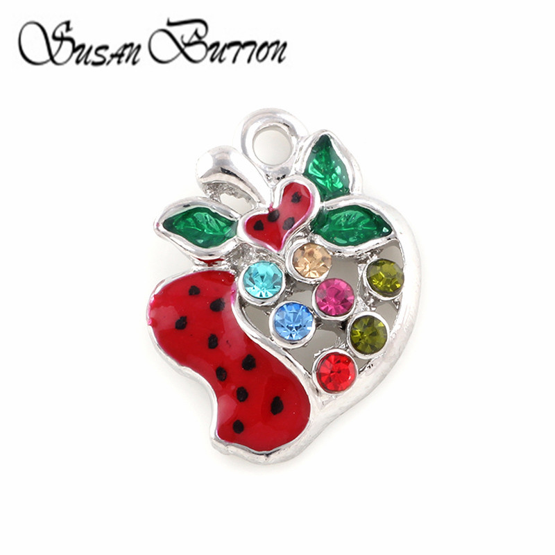 New Arrival 20Pcs Red Enamel Floating Dangle Charm Fruit strawberry Crystal Floating Charms Pendant Jewelry Making SJDC297