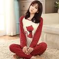 Nueva algodón de manga larga dormir pijama mujer ropa de dormir de la señora Pijamas camisones de las mujeres adolescentes pijamas ropa de dormir Conviene Z2606