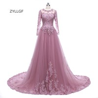 ZYLLGF Bridal Middle East Long Sleeves Evening Dress Appliques Beaded Dubai Evening Gowns Long Prom Dress