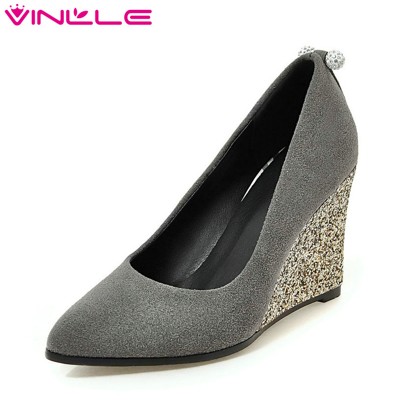 VINLLE 2018 Women Pumps Flock Spring Autumn Night Club Shoes Wedges High Heel Women Shoes Elegant Bling Shoes Big Size 34-43 hot sale new fashion luxury real leather women thick heel pumps flock mix color wedding shoes woman flock sexy elegant pumps