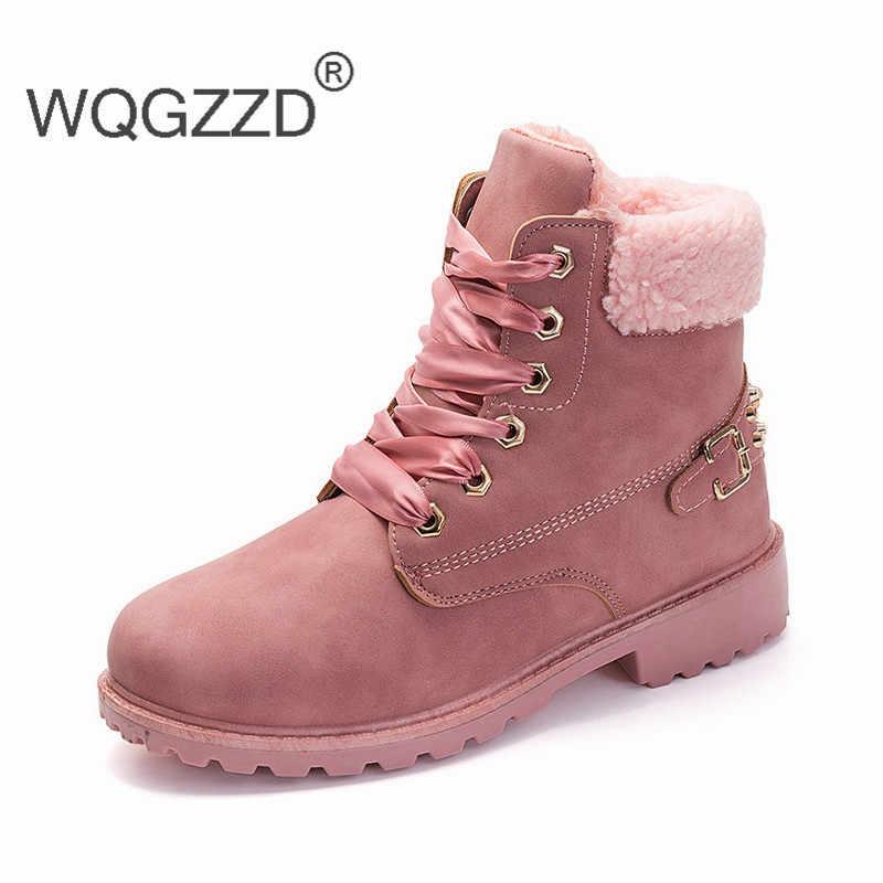 cd81ac07 2019 Mujer europea caliente tobillo Botas piel invierno zapatos Mujer nieve  tobillo Botas señoras Rosa Botas