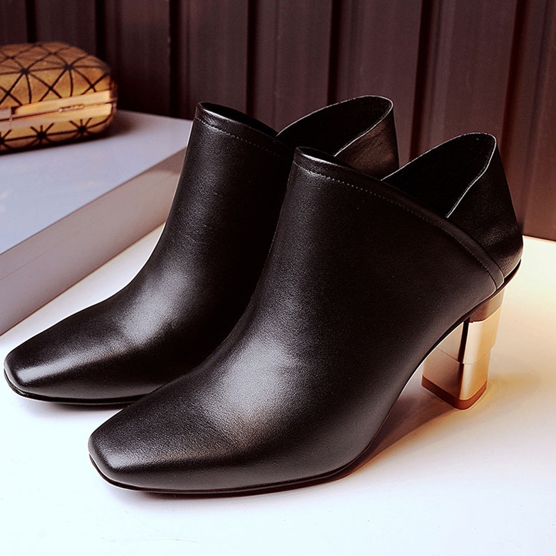 ФОТО Women Boots Square Shoes Woman Genuine Leather Ladies Shoes European Fashion Ankle Boots Sexy Heels Women Shoes Square Toe