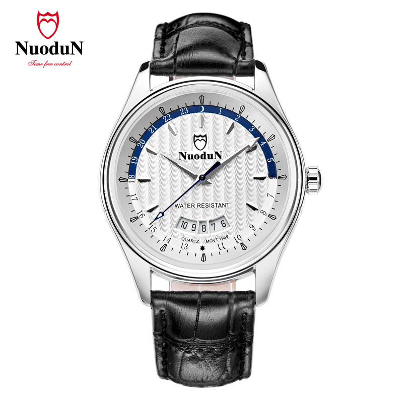 ФОТО NuoduNMen fashion business watch alloy material leather watchband water resistant  men watch with complete calendar 1959P N