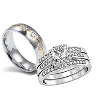 His And Her Couple Ring Luxury Jewelry 10KT White Gold Filled Stainless Steel 5A Zirconia Crystal