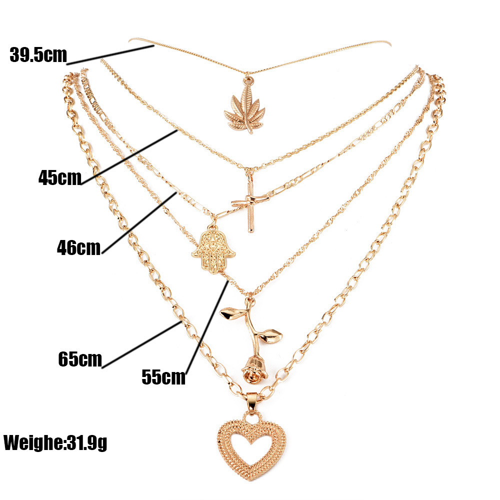 New Fashion Multi layer Flower Leaf palm Cross Heart Shape Necklaces & Pendants For Women Trendy Charm Gold Necklace Jewelry