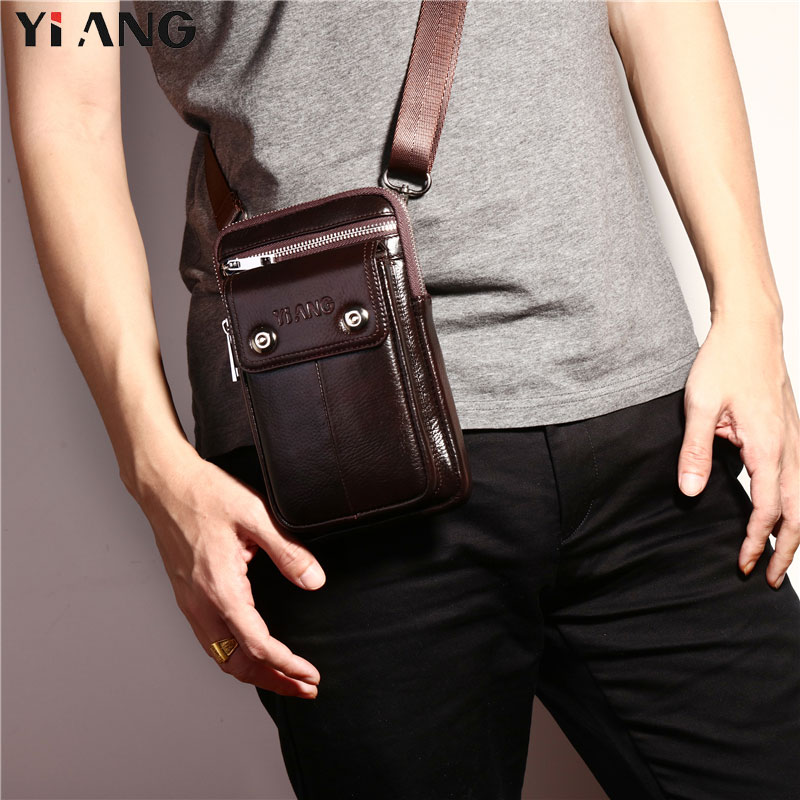 YIANG 2018 Genuine Leather Bags Men High Quality Messenger Bags Small Travel Crossbody Shoulder Bag Small Phone Pouch For Men japanese pouch small hand carry green canvas heat preservation lunch box bag for men and women shopping mama bag