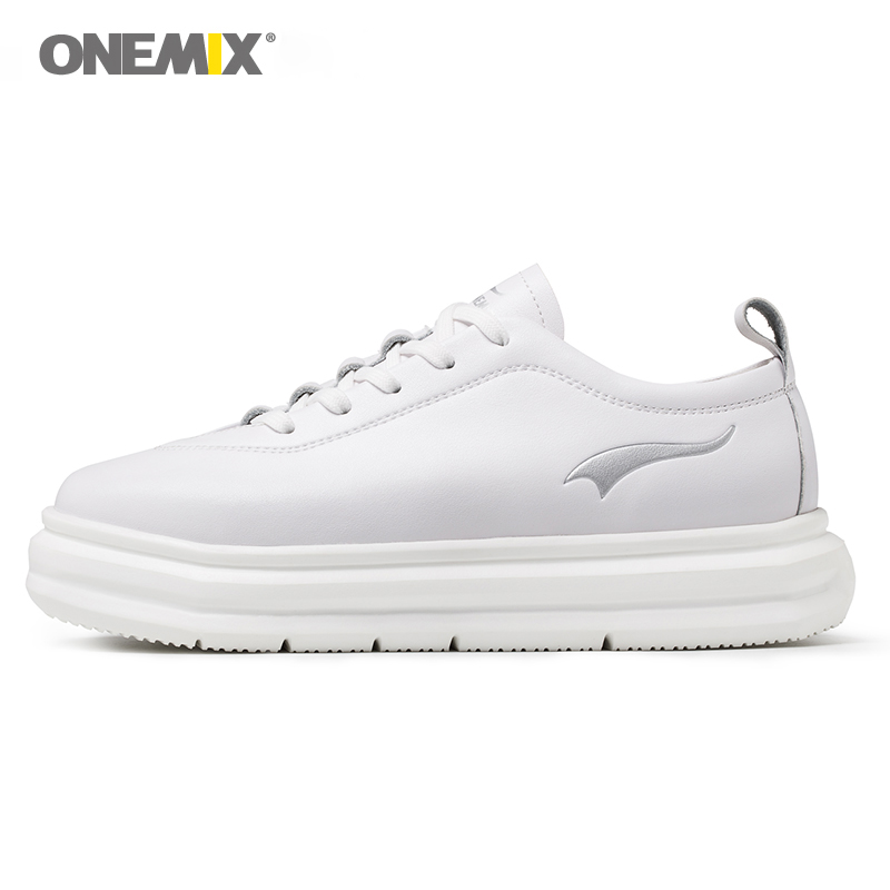 ONEMIX Women Sneakers Leather Shoes Hight Increasing EVA Outsole Micro Fabric Leather Light Female Shoes For Outdoor Walking