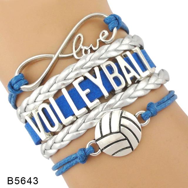 ca721f06bd69 Plata infinito amor voleibol deportes joyería hecha a mano de la trenza de  cuero encanto pulseras