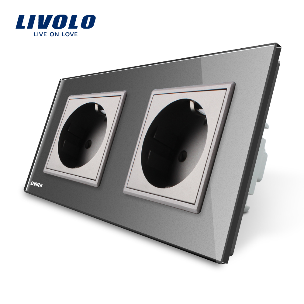 Livolo Manufacturer EU Standard Wall Power Socket, Gray Crystal Glass Panel, AC110~250V 16A Wall Outlet VL-C7C2EU-15 rainbo brand free shipping wall power socket new outlet france standard crystal glass panel ac110 250v 16a wall socket a18fw b
