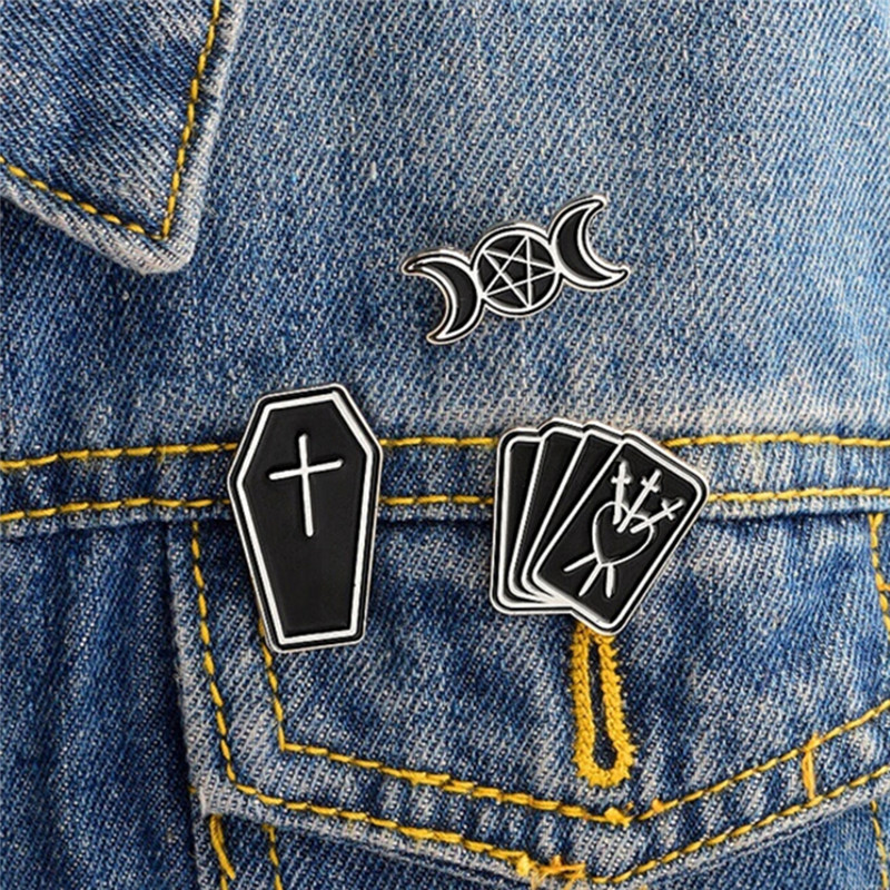 3pcs/set Coffin Moon Star Poker Black Gothic Goth Bag Enamel