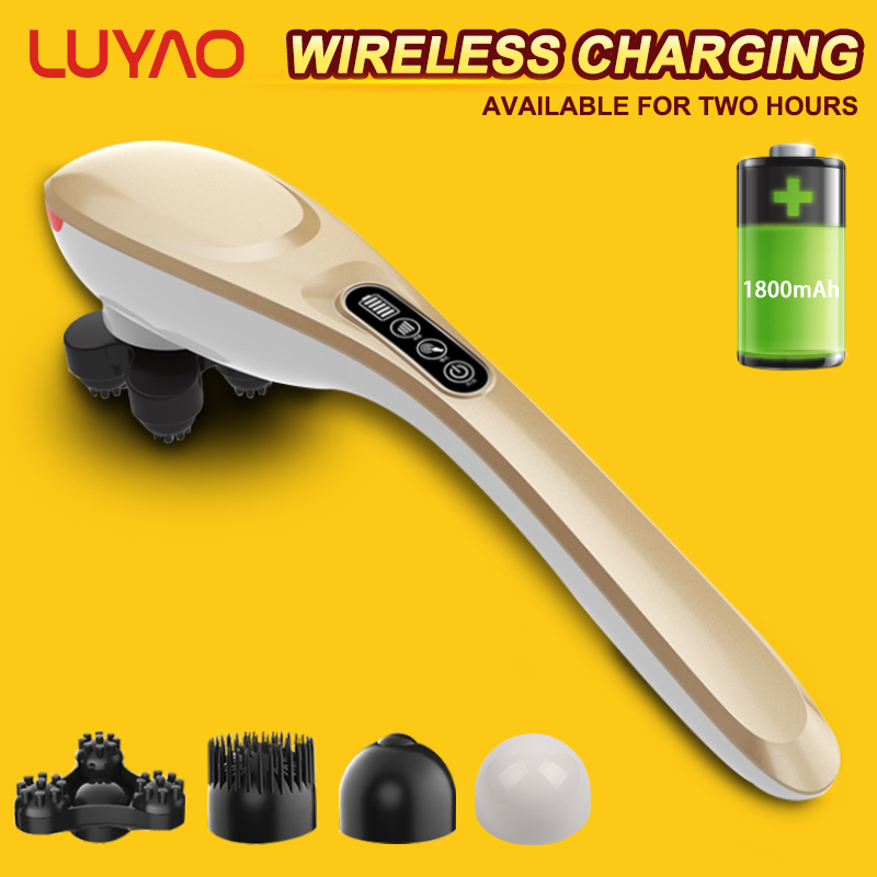 LUYAO 4 In 1 Multifunctional Wireless Charging Cervical Massage Stick Rechargeable Intelligence LCD Shoulder Neck Body MassagerLUYAO 4 In 1 Multifunctional Wireless Charging Cervical Massage Stick Rechargeable Intelligence LCD Shoulder Neck Body Massager