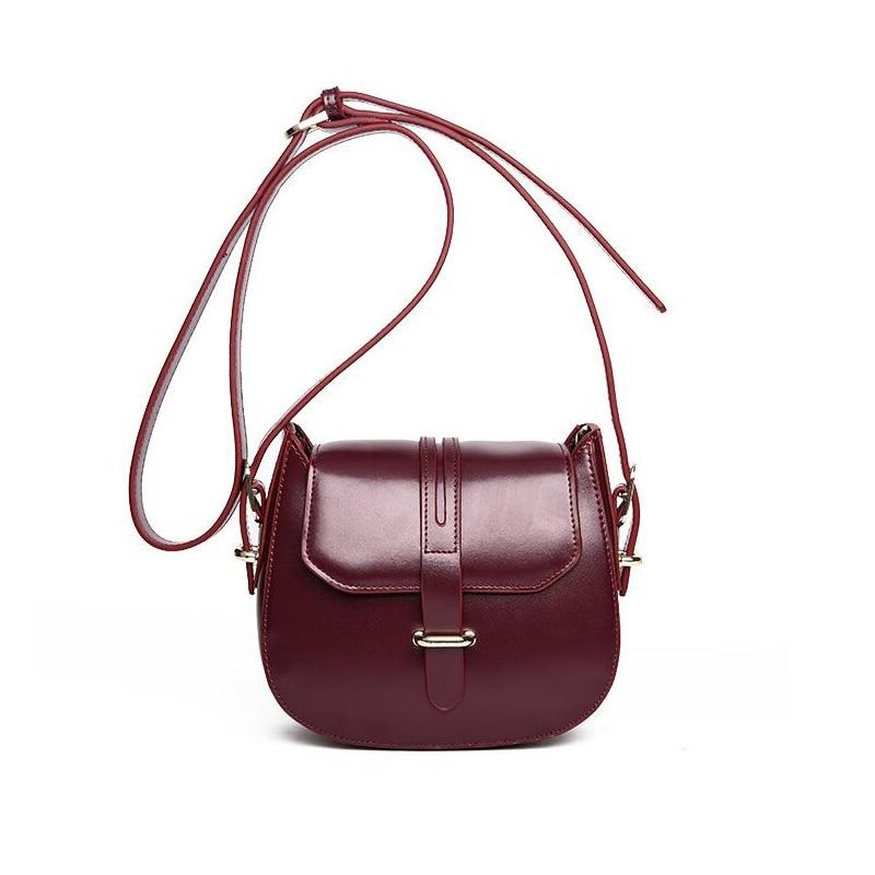 2017 Brand Design Women Genuine Leather shoulder bag solid color Saddle bag Classic retro Real Cowhide small Crossbody bag HG151