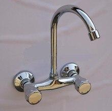 Настенный смеситель для кухни настенный кухонный смеситель двойной рычаг кухонный кран латунь раковина, краны